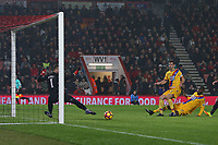 Football - 2016 / 2017 Premier League - AFC Bournemouth vs. Crystal Palace<br /> <br /> Scott Dann of Crystal Palace fires Palace into the lead at Dean Court (The Vitality Stadium) Bournemouth<br /> <br /> COLORSPORT/SHAUN BOGGUST