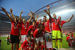 May 13, 2017 - Lisbon, Lisbon, Portugal - Benfica players celebrating the tetra title with his team mates after the match between SL Benfica and Vitoria SC for the Portuguese Primeira Liga at Estadio da Luz on May 13, 2017 in Lisbon, Portugal. (Credit Image: © Dpi/NurPhoto via ZUMA Press)