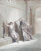 Machine colourized (AI) Saul Attempts to kill David 1 Samuel 18:11-12 From the book 'Bible Gallery' Illustrated by Gustave Dore with Memoir of Dore and Descriptive Letter-press by Talbot W. Chambers D.D. Published by Cassell & Company Limited in London and simultaneously by Mame in Tours, France in 1866