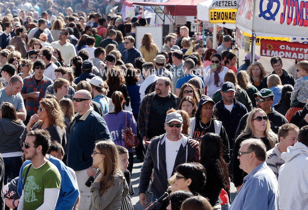 Warwick, New York - Crowds of people walk down a closed street during the Applefest  harvest celebration on Oct. 3, 2010.