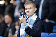 a Young Manchester City fans taking pictures of the players warming up before k/o. The Emirates FA Cup, 5th round match, Chelsea v Manchester city at Stamford Bridge in London on Sunday 21st Feb 2016.<br /> pic by John Patrick Fletcher, Andrew Orchard sports photography.
