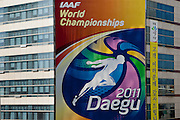 Bigboard at the IAAF organisation committee building in the city center of Daegu. Daegu, also known as Taegu and officially the Daegu Metropolitan City, is the third largest metropolitan area in South Korea, and by city limits, the fourth largest city with over 2.5 million people. The IAAF World Championships in Athletics will take place in Daegu from the 27th of August till the 4th of September 2011.