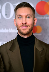 Calvin Harris in the press room at the Brit Awards 2019 at the O2 Arena, London.