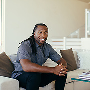 Arizona Cardinals wide receiver Larry Fitzgerald (b. August 31, 1983) photographed on location at Sanctuary Resort & Spa in Paradise Valley. Fitzgerald, currently in his 13th season with Arizona, has been selected for the Pro Bowl nine times. <br /> <br /> Photograph by Jill Richards
