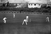 Ireland v. Leicester, Cricket at Sydney Parade..1963..07.07.1963..7th July 1963.  .Today Ireland played Leicester at cricket in the Pembroke Cricket Club grounds at Sydney Parade, Ballsbridge ,Dublin...Stanley Bergin, is pictured playing a shot through the Leicester fielders during the match at Sydney Parade.