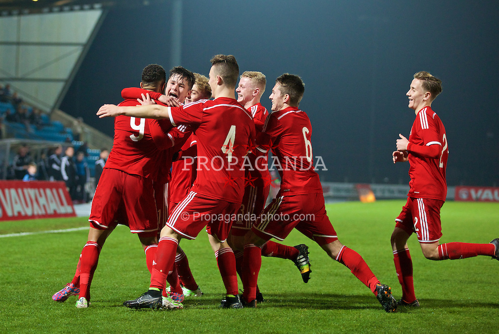 BALLYMENA, NORTHERN IRELAND - Thursday, November 20, 2014: Wales' captain Tyler Roberts celebrates scoring the first goal against Northern Ireland with team-mate Liam Cullen during the Under-16's Victory Shield International match at the Ballymena Showgrounds. (Pic by David Rawcliffe/Propaganda)