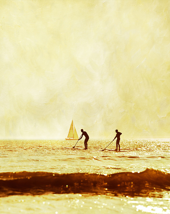 Stand-up paddle boarders (SUP) in action at Compton Bay, Isle of Wight, on a gloriously sunny and warm spring evening.<br /> <br /> Deliberately shot into the sun for a silhouette and maximum shimmering sea, and then edited with a painterly texture to complete the style I was looking for when I first visualised the image.<br /> <br /> Two frame Vertical Panorama shot with the Sigma 50-500mm lens at f7.1  1/2000.<br /> <br /> Part of the Ocean Seen - Oceanic Photography Exhibition.<br /> <br /> Sponsored by Wightlink - Dimbola Museum & Galleries, Freshwater Bay, Isle of Wight - 29th June to 2nd September 2012.<br /> <br /> A collaborative summer show, bringing together three great oceanic photographers to celebrate the way we interact with our great British coastline.