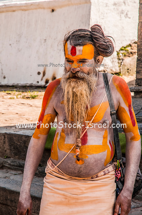 A Sadhu an ascetic or practitioner of yoga (yogi) who has given up pursuit of the first three Hindu goals of life: kama (enjoyment), artha (practical objectives) and even dharma (duty). Photographed at the Pashupatinath Temple, Kathmandu, Nepal