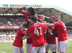 Oliver Burke of Nottingham Forest (Hidden) celebrates scoring his sides third goal - Mandatory by-line: Jack Phillips/JMP - 06/08/2016 - FOOTBALL - The City Ground - Nottingham, England - Nottingham Forest v Burton Albion - EFL Sky Bet Championship