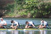 "Rio de Janeiro. BRAZIL.  GBRM4X. Bow. <br /> Jack BEAUMONT, San TOWNSEND, Angus GROOM and Pete LAMBERT, 2016 Olympic Rowing Regatta. Lagoa Stadium,<br /> Copacabana,  ""Olympic Summer Games""<br /> Rodrigo de Freitas Lagoon, Lagoa. Local Time 10:18:29  Thursday  11/08/2016 <br /> [Mandatory Credit; Peter SPURRIER/Intersport Images]"