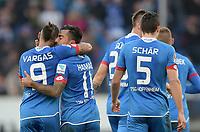 Fotball<br /> Tyskland<br /> 23.01.2016<br /> Foto: Witters/Digitalsport<br /> NORWAY ONLY<br /> <br /> 1:0 Jubel v.l. Eduardo Vargas, Torschuetze Jiloan Hamad, Niklas Suele, Fabian Schaer (Hoffenheim)<br /> Sinsheim, 23.01.2016, Fussball Bundesliga, TSG 1899 Hoffenheim - Bayer 04 Leverkusen