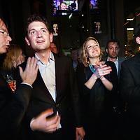 Nederland, amsterdam , 19 maart 2014.<br /> Jan Paternotte lijsttrekker D-66 in café Rijn tijdens Gemeenteraadsverkiezingen na bekendmaking van de forse winst van D66 in de Nederlandse politiek<br /> Foto:Jean-Pierre Jans
