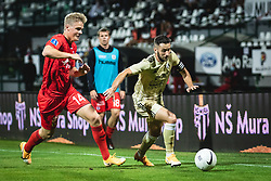 Søren Tengstedt of AGF Aarhus and Alen Kozar of Mura during football match between NS Mura and AGF Aarhus in Second Round of UEFA Europa League Qualifications, on September 17, 2020 in Stadium Fazanerija, Murska Sobota, Slovenia. Photo by Blaz Weindorfer / Sportida