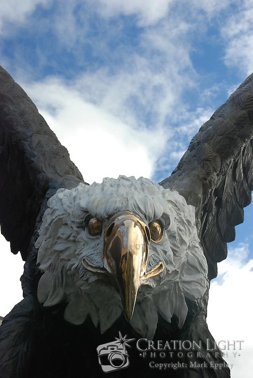 Skookum Hyak is a 33 ft beautiful bronze sculpture of a bald eagle at Seven Feathers Casino Resort.