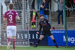 Clyde's Darren Smith cele after Arbroath's Ricky Little diverted the ball into his own net for Clyde's second goal. Arbroath 0 v 2 Clyde, Tunnocks Caramel Wafer Challenge Cup 4th Round, played 12/10/2019 at Arbroath's home ground, Gayfield Park.