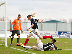 Dunfermline's Alex Whittle with Falkirk's Conor McGrandles. Falkirk 1 v 0 Dunfermline, 16/2/2013..©Michael Schofield.