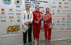 05.09.2015, Olympia Schiessanlage Hochbrueck, Muenchen, GER, ISSF World Cup 2015, Gewehr, Pistole, Damen, 10 Meter Luftpistole, im Bild Von links nach rechts, Anna Korakaki (GRE), Silber, Zorana Arunovic (SRB), Gold, sowie Liabov Yaskevich (RUS), Bronze. // during the women's 10M air Pistol competition of the 2015 ISSF World Cup at the Olympia Schiessanlage Hochbrueck in Muenchen, Germany on 2015/09/05. EXPA Pictures © 2015, PhotoCredit: EXPA/ Eibner-Pressefoto/ Wuest<br /> <br /> *****ATTENTION - OUT of GER*****