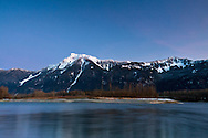 Mount Cheam (left) and Mount Archibald and the Fraser River near Agassiz, British Columbia, Canada