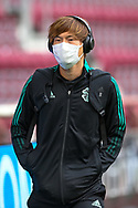 Kyogo Furuhashi (#8) of Celtic FC arrives before the Cinch SPFL Premiership match between Heart of Midlothian FC and Celtic FC at Tynecastle Park, Edinburgh, Scotland on 31 July 2021.