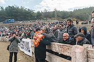 TURKEY, Izmir, Selçuk. The town's mayor greets spectators before the start of the  35th annual Selçuk Camel Wrestling Festival.