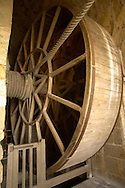 Mont Saint-Michel - Abbey Lift Winch Wheel - Brittany - France .<br /> <br /> Visit our MEDIEVAL PHOTO COLLECTIONS for more   photos  to download or buy as prints https://funkystock.photoshelter.com/gallery-collection/Medieval-Middle-Ages-Historic-Places-Arcaeological-Sites-Pictures-Images-of/C0000B5ZA54_WD0s