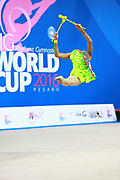 Kosoulieva Angela of Poland competes during the rhythmic gymnastics individual clubs qualification of the World Cup at Adriatic Arena on April 2, 2016 in Pesaro, Italy.<br />