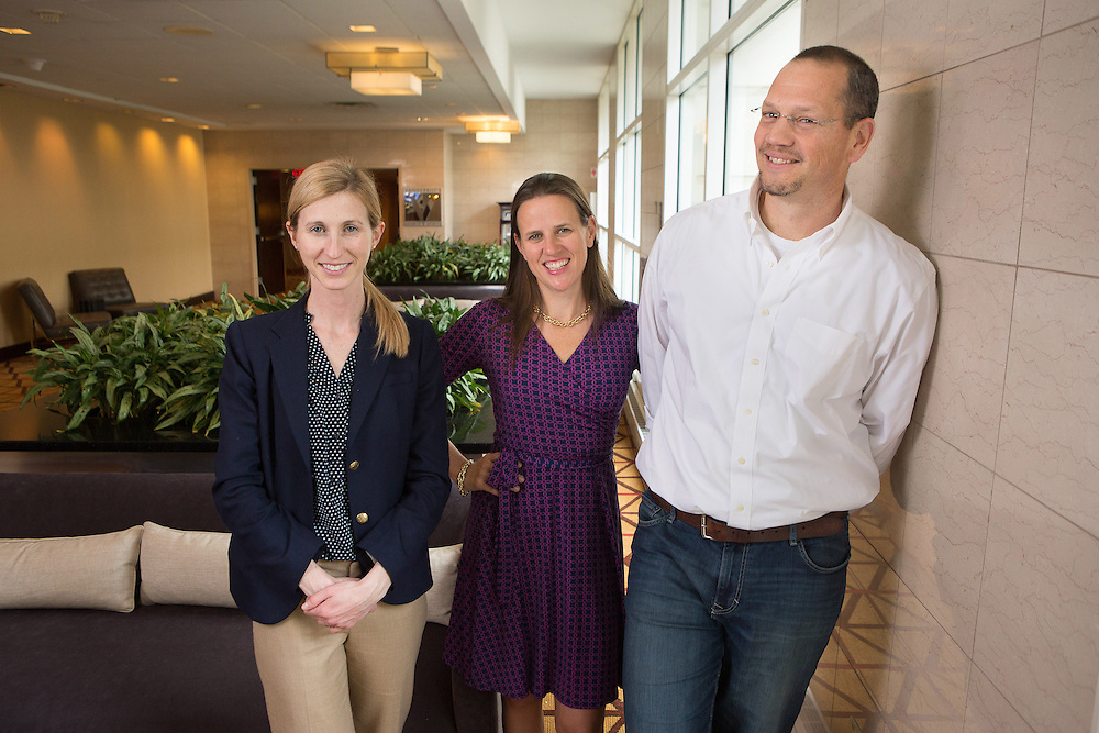 """Colleen Driggs , Erica Woolway and Doug Lemov  during a conference in Florham Park, New Jersey. The trio has co-authored the book """"Teach Like a Champion"""". 1/13/16  Photo by John O'Boyle"""