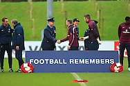Roy Hodgson, England manager and Wayne Rooney join service personnel for two minutes silence - England Training & Press Conference - UEFA Euro 2016 Qualifying - St George's Park - Burton-upon-Trent - 11/11/2014 Pic Philip Oldham/Sportimage