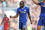 GOAL - Victor Moses of Chelsea celebrates as he scores his sides 3rd goal. Premier league match, Chelsea v Leicester city at Stamford Bridge in London on Saturday 15th October 2016.<br /> pic by John Patrick Fletcher, Andrew Orchard sports photography.