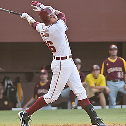 June 03, 2011; Tallahassee, FL, USA; Florida State Seminoles first baseman Jayce Boyd (16) doubles during the fourth inning of the Tallahassee regional of the 2011 NCAA baseball tournament against the Bethune-Cookman Wildcats at Dick Howser Stadium. Mandatory Credit: Derick E. Hingle