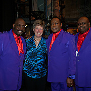 Temptations members Otis Williams, Joe Hendon, and Bruce Williamson (L to R) meet with a MH board member backstage before their show at The Music Hall in Portsmouth, NH