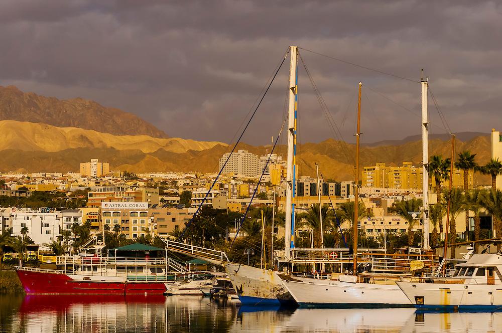 The resort city of Eilat, Gulf of Aqaba, Red Sea, Israel.