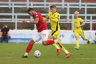 Chris Bush and Kelsey Mooney  during the The FA Cup 1st round match between Ebbsfleet and Cheltenham Town at Stonebridge Road, Ebsfleet, United Kingdom on 10 November 2018.