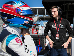 March 9, 2019 - St. Petersburg, Florida, U.S. - DIRK SHADD   |   Times  .IndyCar team co-owner George Steinbrenner IV (on right), with Harding Steinbrenner Racing, with his driver Colton Herta in their pit box before Herta takes to the track an IndyCar practice session at the Grand Prix of St. Petersburg in St. Petersburg on Saturday, March 9, 2019. (Credit Image: © Dirk Shadd/Tampa Bay Times via ZUMA Wire)