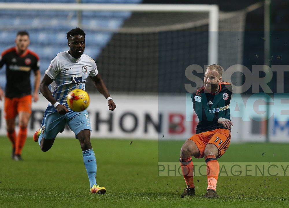 Matt Done of Sheffield Utd during the English League One match at the Rioch Arena Stadium, Coventry. Picture date: December 15th, 2016. Pic Simon Bellis/Sportimage