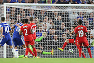 Diego Costa of Chelsea (19)  scores his sides 1st goal to make it 1-2. Premier league match, Chelsea v Liverpool at Stamford Bridge in London on Friday 16th September 2016.<br /> pic by John Patrick Fletcher, Andrew Orchard sports photography.