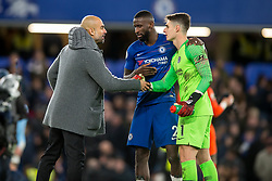 December 8, 2018 - London, Greater London, England - Joseph Guardiola manager of Manchester City congratulates with Kepa Arrizabalaga of Chelsea and Antonio Rüdiger of Chelsea during the Premier League match between Chelsea and Manchester City at Stamford Bridge, London, England on 8 December 2018. (Credit Image: © AFP7 via ZUMA Wire)