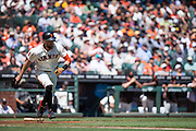 San Francisco Giants right fielder Hunter Pence (8) runs to first base after a hit against the Arizona Diamondbacks at AT&T Park in San Francisco, Calif., on August 31, 2016. (Stan Olszewski/Special to S.F. Examiner)