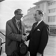 10/05/1965<br /> 05/10/1965<br /> 10 May 1965<br /> Dublin's German Embassy Cultural and Press Attache Guenther Beckers, right, wishes a pleasant journey to Osmund G. Dowling, left, director of the Dublin Diocesan Press Office, as he he left Dublin Airport en route to Germany for a 12-day information tour. The tour was sponsored by the Press Office of the Government of the Federal Republic of Germany. Dowling joined a party of 12 world representatives of the Geneva Ecumenical Church and the Roman Catholic Church from Belgium, Finland, France, Greenland, Great Britain, Italy, The Netherlands, Norway, Austria, Portugal, Sweden and Ireland.