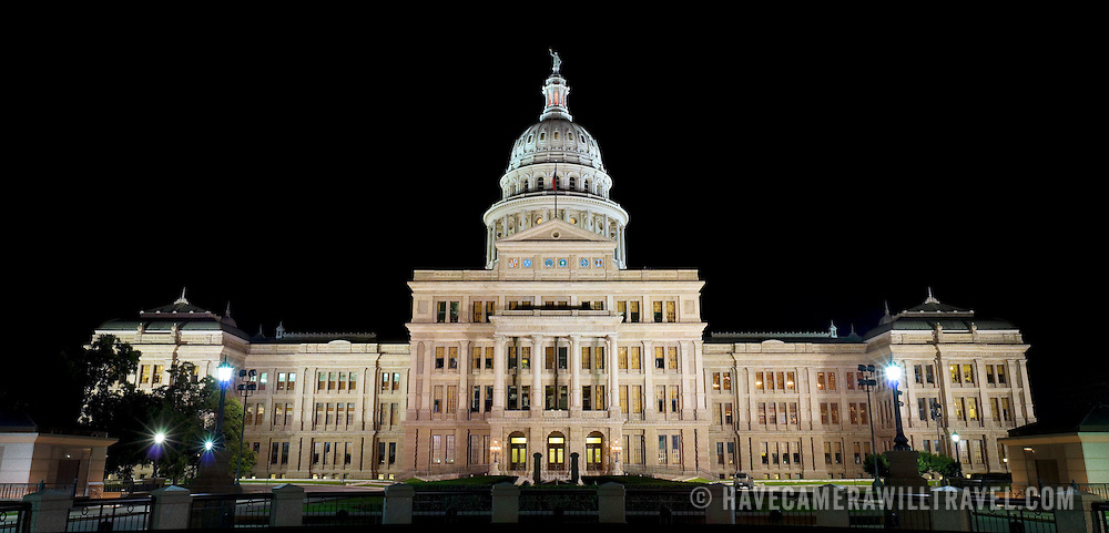 High resolution image of the Texas State Capitol Building in Austin, Texas, at night. Completed in 1888 and in an architectural style of Renaissance Revival, the Texas State Capitol is the largest of the state Capitols. Although smaller in size than the US Capitol in Washington DC, it's dome rises 15 feet higher than the US Capitol Dome. On a high point in Austin's downtown, it has a commanding view over the surround area. Its exterior is of locally source granite.
