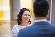 Melissa and Josh H. celebrate their marriage at San Francisco City Hall in San Francisco, California, on February 22, 2019. (Stan Olszewski/SOSKIphoto)