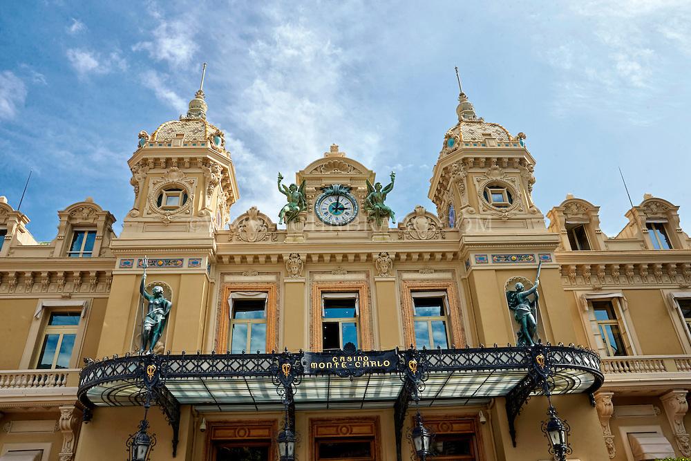 View of the ornate entrance to the Monte Carlo Casino, Monaco, France.