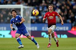 Leicester City's Shinji Okazaki and Manchester United's Ander Herrera in action