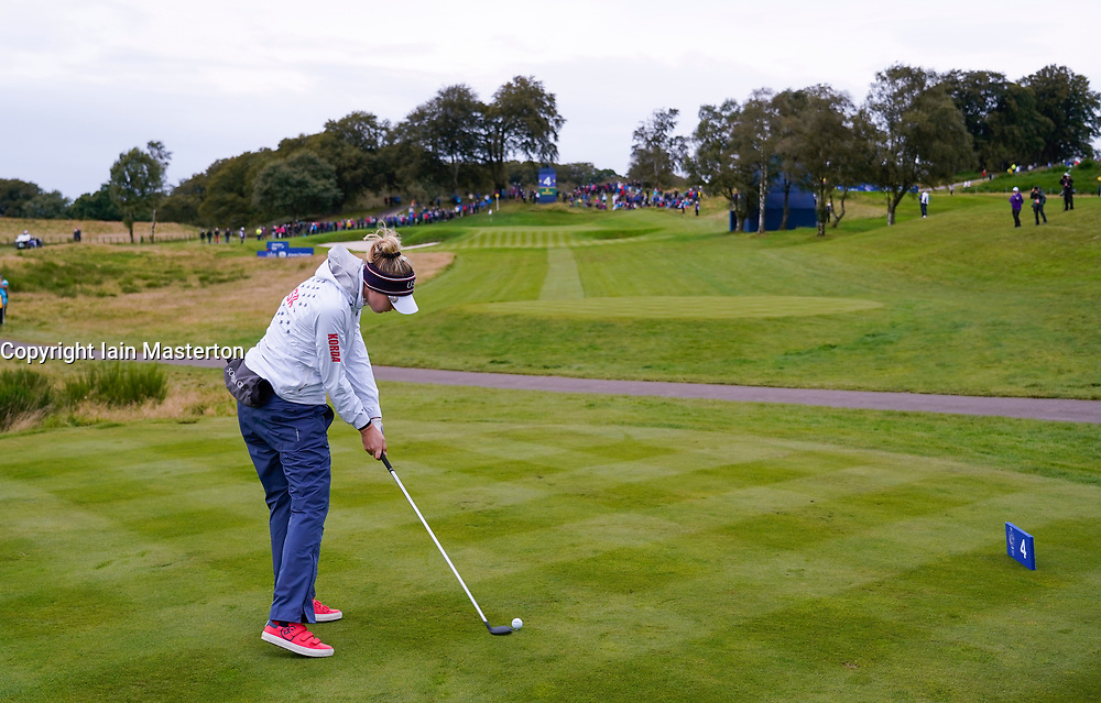 Auchterarder, Scotland, UK. 14 September 2019. Saturday morning Foresomes matches  at 2019 Solheim Cup on Centenary Course at Gleneagles. Pictured; Nelly Korda of team USA tee shot on short 4th hole. Iain Masterton/Alamy Live News