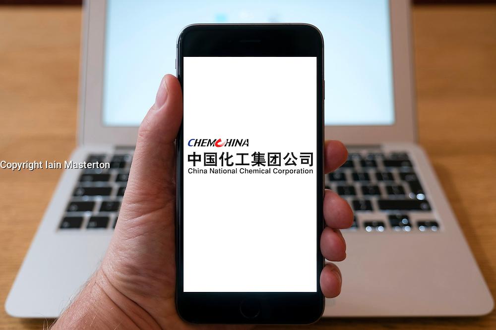 Logo of Chinese chemical company ChemChina  on smart phone screen.