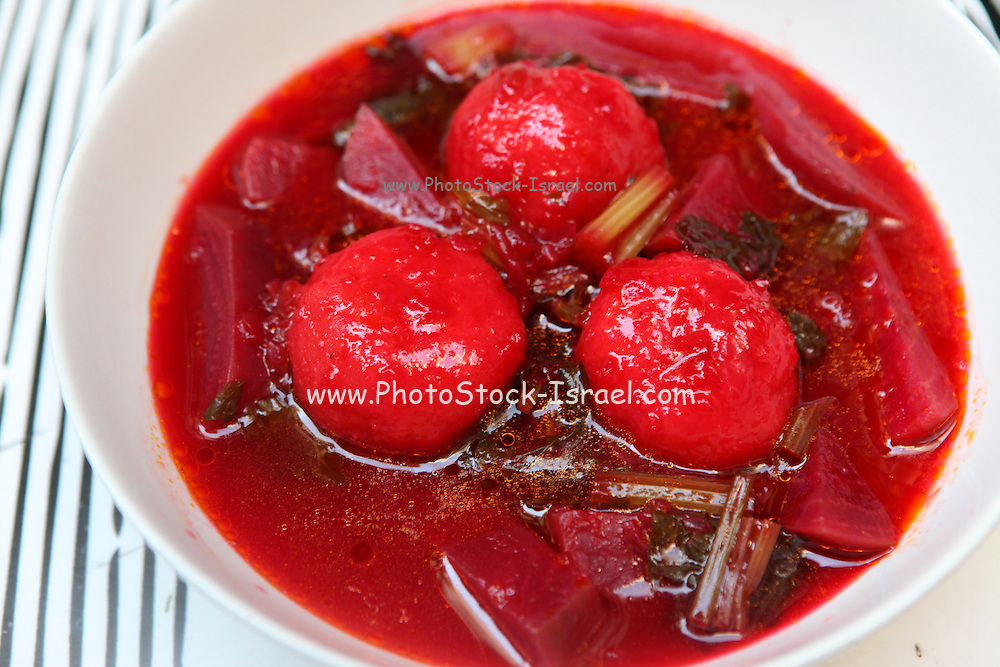 Kibbeh beetroot Soup a Middle Eastern dish made of bulgur or rice and chopped meat