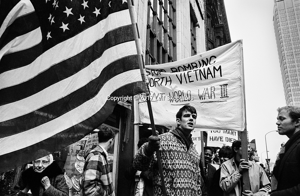 """Students from Philadelphia area colleges protest """"Rolling Thunder"""", the start of the US bombing of North Vietnam."""