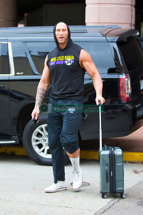 EXCLUSIVE: The Miz, The Bella Twins and many WWE Wrestlers are seen as they prepare for Wrestlemania 34 in New Orleans, Louisiana. 07 Apr 2018 Pictured: WWE Wrestler. Photo credit: MEGA TheMegaAgency.com +1 888 505 6342