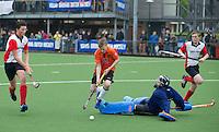 ABCOUDE - VOLVO JUNIOR CUP hockey . keeper van Abcoude C1 ,  en Heerhugowaard   strijden in Abcoude om de cup. Heerhugowaard wint met 3-1. De teams werden gesteund door spelers van Jong Oranje. COPYRIGHT KOEN SUYK