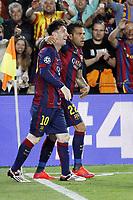 Fotball<br /> Tyskland<br /> 06.05.2015<br /> Foto: imago/Digitalsport<br /> NORWAY ONLY<br /> <br /> Lionel Messi FC Barcelona Barca 10) und Dani Alves (FC Barcelona 22) beim Torjubel nach dem Treffer zum 2:0<br /> <br /> Fussball, Champions League, Halbfinale Hinspiel, FC Barcelona - FC Bayern München